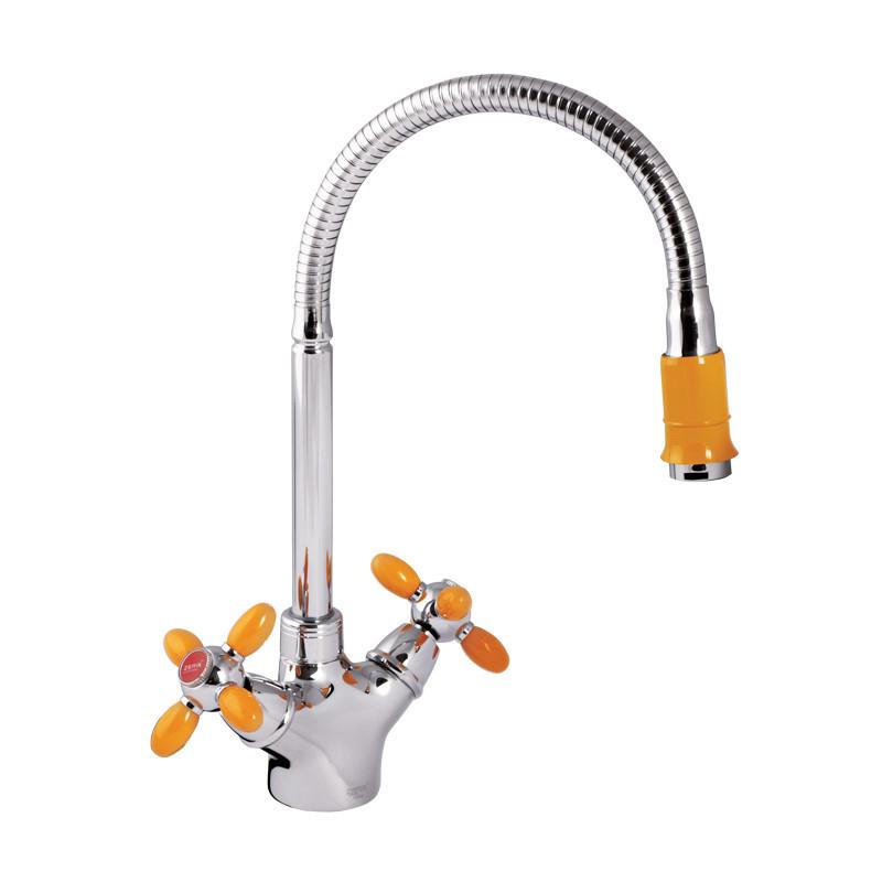 Смеситель для кухни ZERIX Z5860-10 (желтые ручки) (ZX0350)