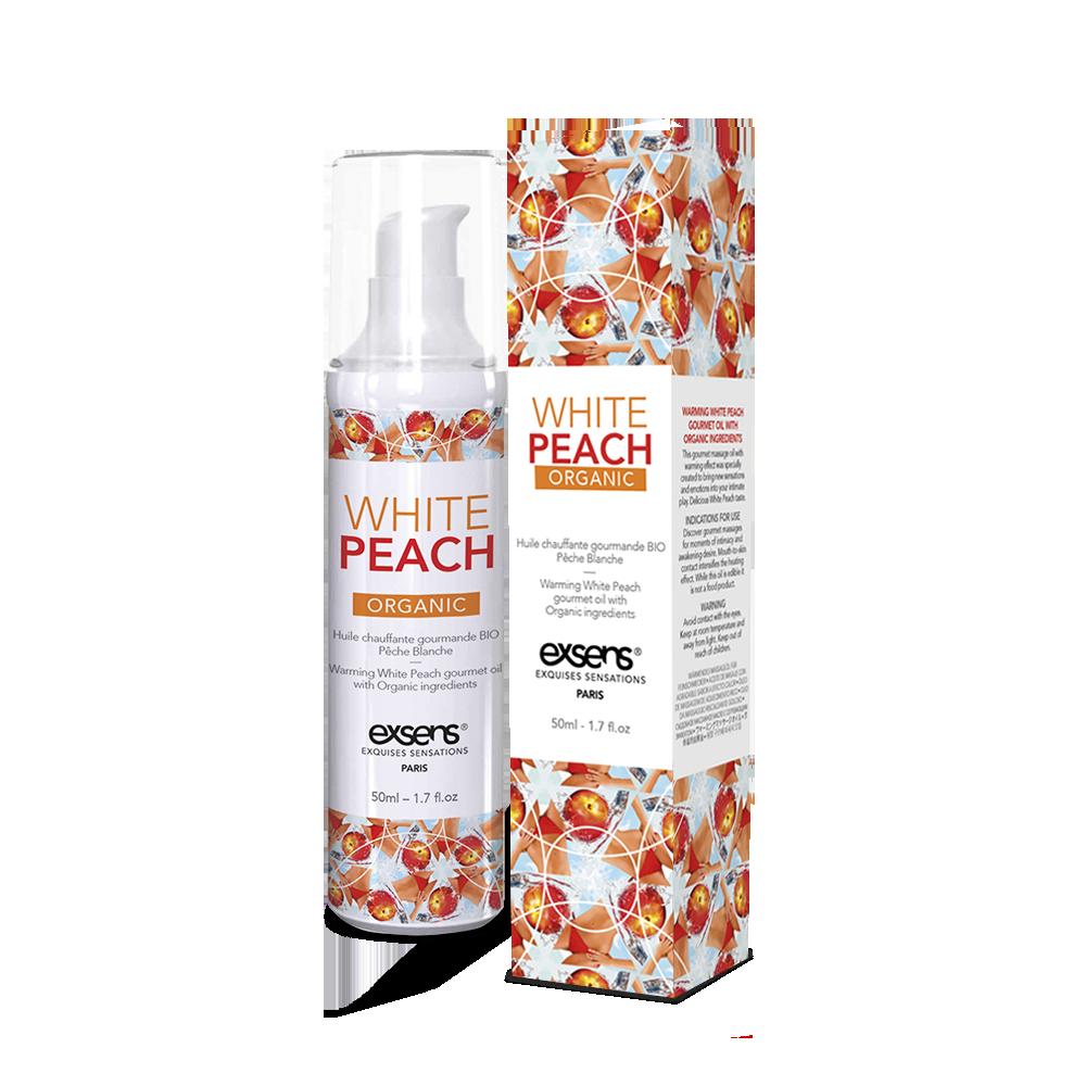 Массажное масло EXSENS Organic White Peach 50мл разогревающее, без сахара, без парабенов, съедобное