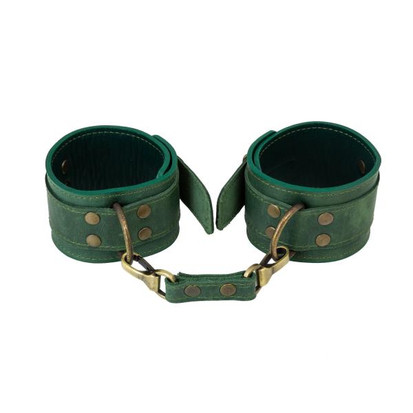 Премиум поножи LOVECRAFT зеленые, натуральная кожа, в подарочной упаковке