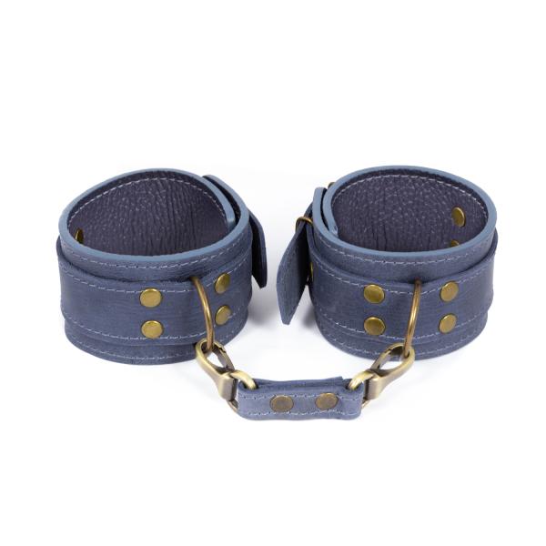 Премиум поножи LOVECRAFT голубые, натуральная кожа, в подарочной упаковке