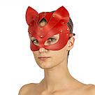 Премиум маска кошечки LOVECRAFT, натуральная кожа, красная, подарочная упаковка, фото 3