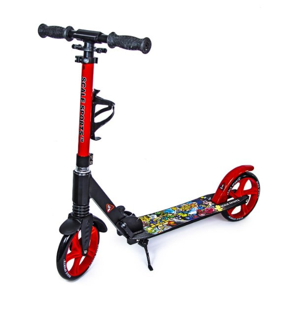 Самокат детский двухколесный для девочки 7 8 9 лет Scooter Scale Sports SS-15 черно-красный