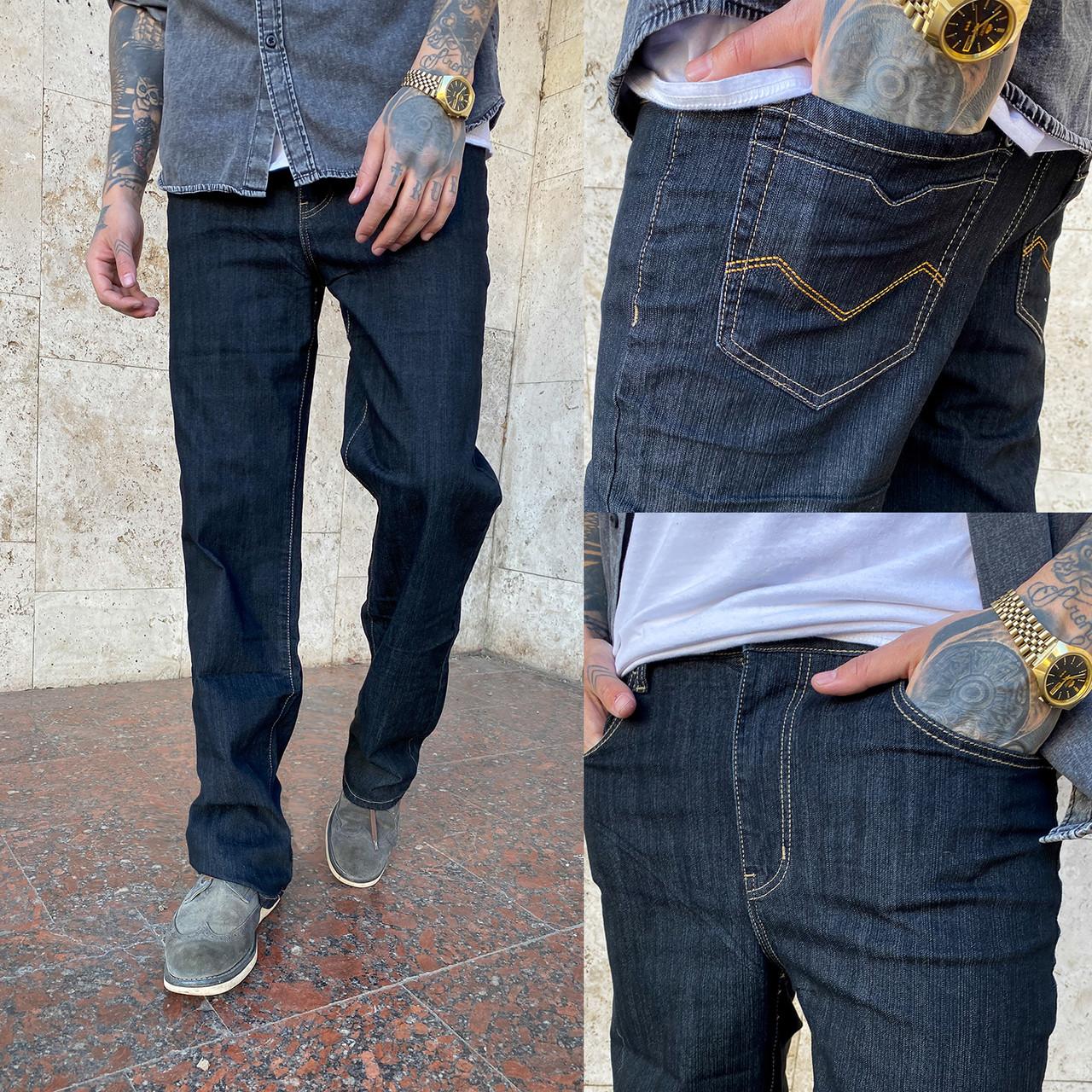 17001-01 (B) черные норма WVS джинсы мужские черные весенние стрейчевые (32,33,34, 3 ед.)