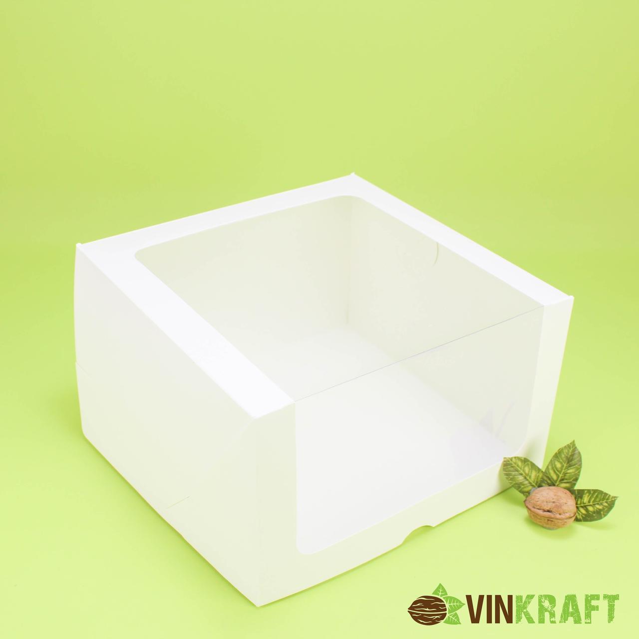 Коробка 250*250*150 для торта з вікном, біла