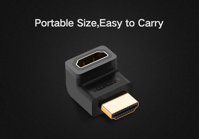 Переходник HDMI угловой вверх вниз вправо влево 90 270 градусов Ugreen HD112 20109 20110 20111 20112 HDMI 90 270 Degree Right Angle