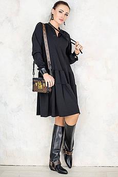 Чорне плаття Палома з довгим рукавом