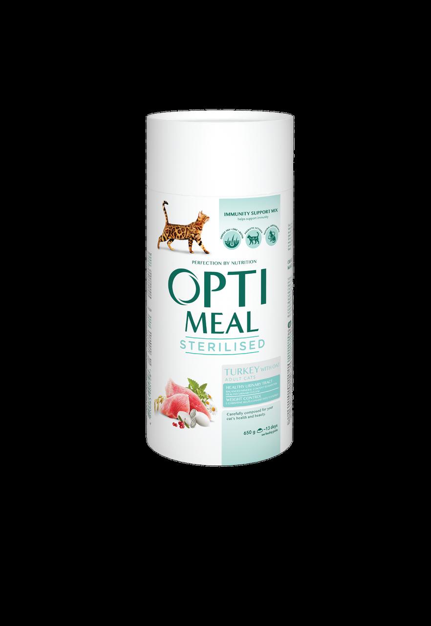 Сухий корм для стерилізованих кішок і кастрованих котів Індичка і овес 650 г OPTIMEAL ОПТИМИЛ