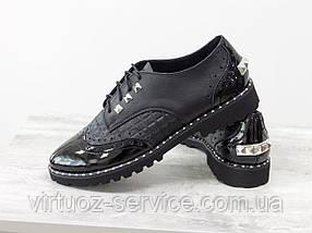 Туфли Оксфорды Gino Figini Т-415-09из натуральной кожи 37 Черные, фото 2