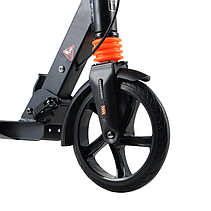 Детский Самокат 001PX складной руль колёса PU 200 мм амортизаторы дисковый тормоз цвет черный, фото 2