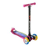 Самокат детский для девочки Scooter 0072D колёса PU светятся