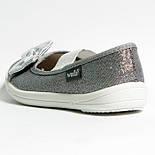 Тапочки WALDI Вероника Бант-Блеск серебряный белая подошва. Размеры 29,30, фото 3