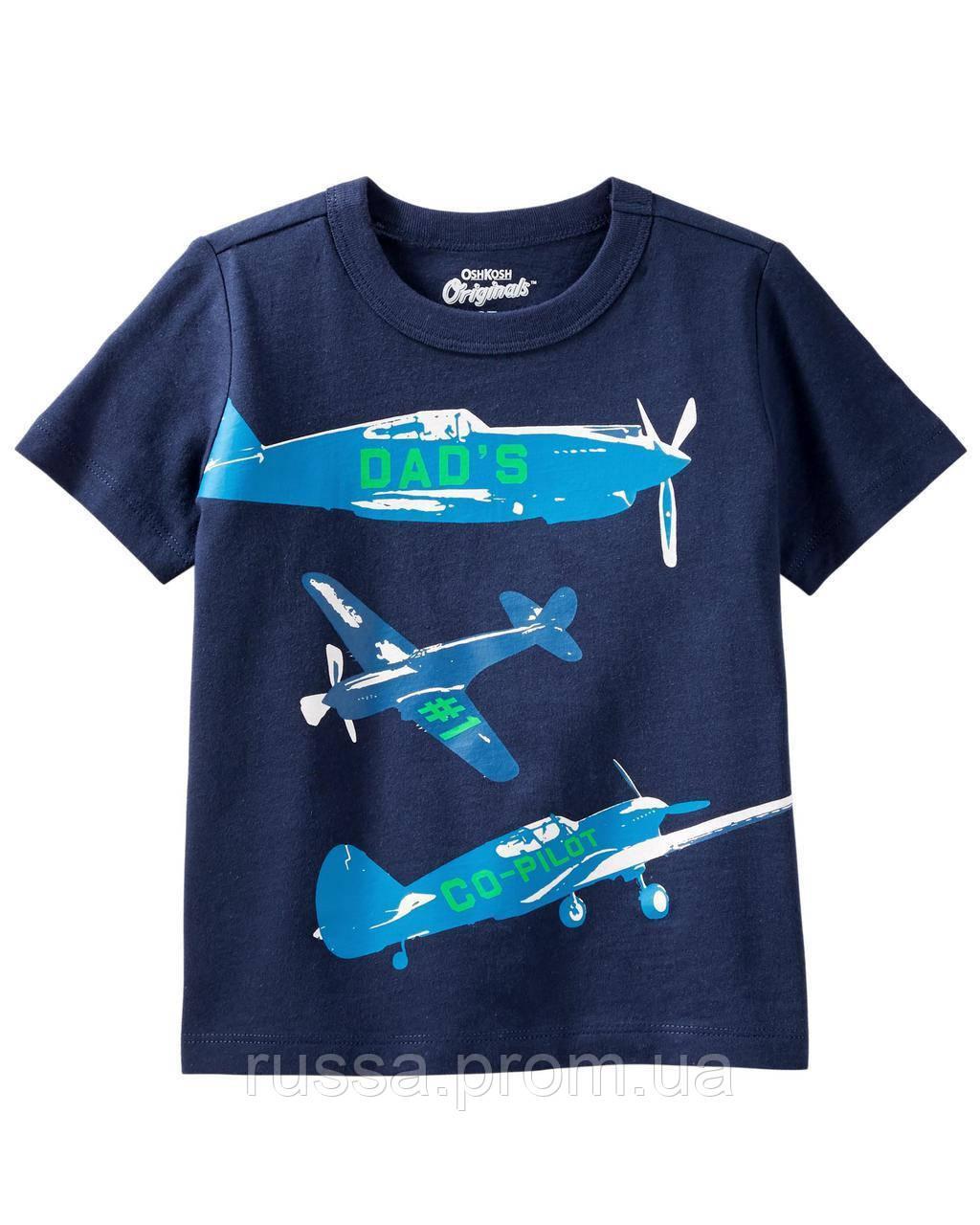 Детская темно-синяя футболка с самолетами OшКош для мальчика