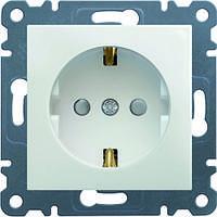 Розетка с з/к и защитой контактов Hager Lumina 2 Белая (WL1060), фото 1