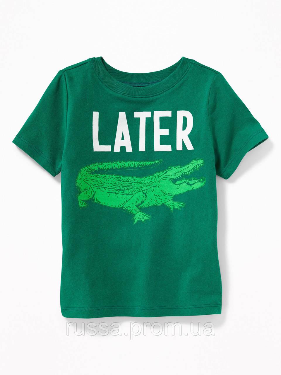 Детская летняя футболка с крокодильчиком Oлд Неви для мальчика