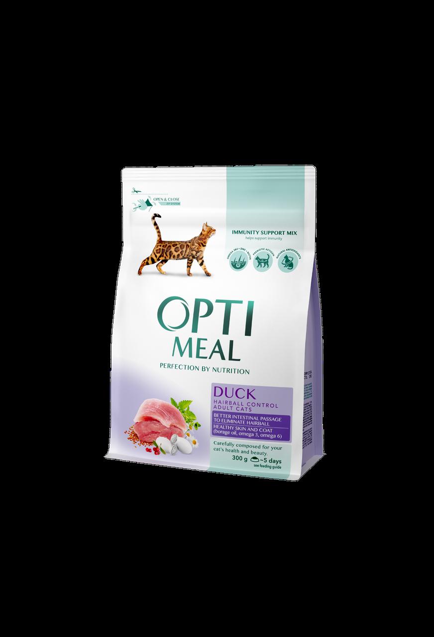 Сухой корм для взрослых кошек для выведения шерсти Утка 300 г OPTIMEAL ОПТИМИЛ