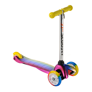 Детский самокат ScooTer 0073D материал пластик+металл колёса PU светятся цвет ручки фиолетовый, фото 2