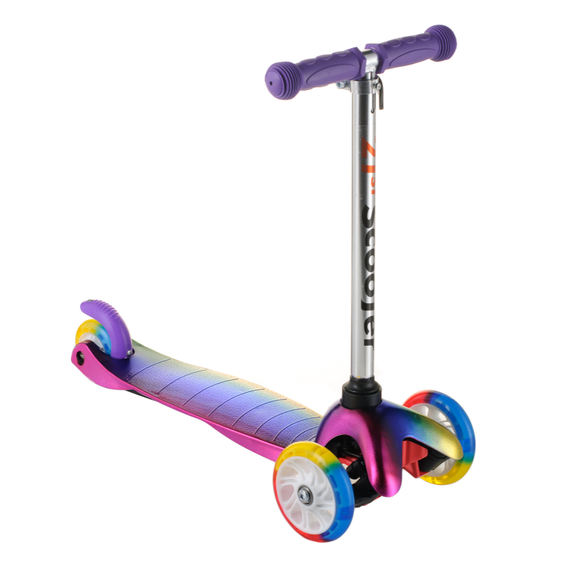 Детский самокат ScooTer 0073D материал пластик+металл колёса PU светятся цвет ручки фиолетовый