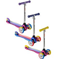 Детский самокат ScooTer 0073D материал пластик+металл колёса PU светятся цвет ручки фиолетовый, фото 3