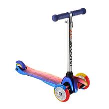 Детский самокат ScooTer 0073D материал пластик+металл колёса PU светятся цвет ручки синий