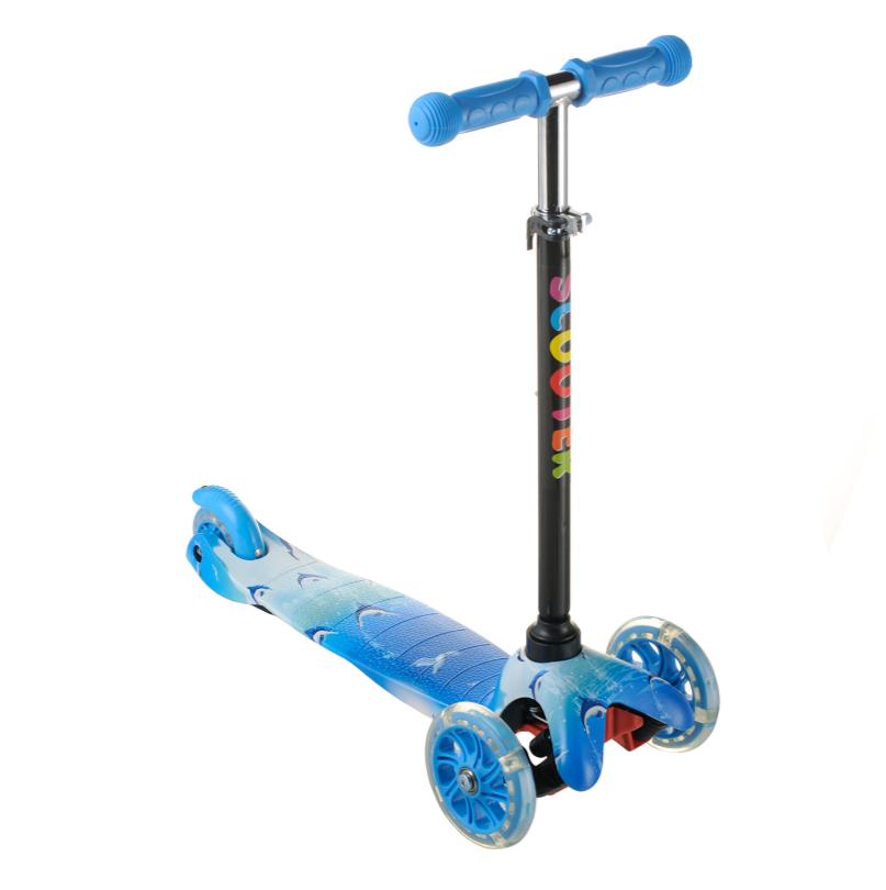 Детский самокат  для мальчика ScooTer 038PZ материал пластик+металл колёса светятся цвет голубой