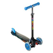 Детский самокат  для мальчика ScooTer 038PZ материал пластик+металл колёса светятся цвет голубой, фото 3