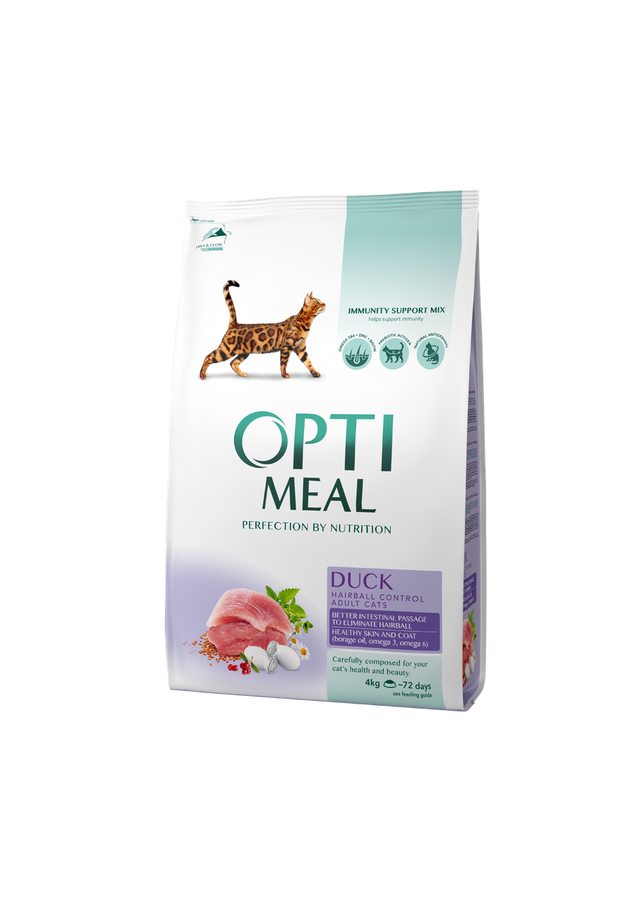 Сухой корм для взрослых кошек для выведения шерсти Утка 4 кг OPTIMEAL ОПТИМИЛ
