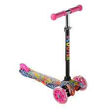 Самокат детский  для девочки ScooTer 038PZ материал пластик+металл колёса светятся цвет розовый, фото 2