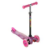Самокат детский для девочки ScooTer 038PZ материал пластик+металл колёса светятся цвет розовый