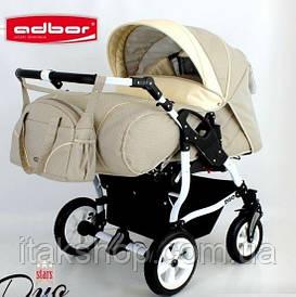 Детская коляска для двойни 2в1 Adbor Duo stars D-01 (Бежевая)
