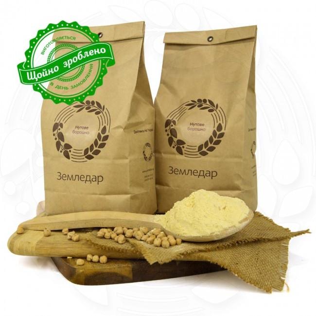 Нутовая жерновая мука 0,5 кг сертифицированная без ГМО змельчения нута жерновым мето