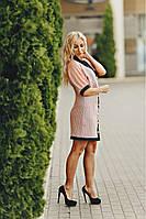 Летное персиковое платье из кружева макроме на пуговицах размеры 42