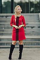 Красно женское платье из костюмной ткани с черной планочкой размер 44-46