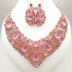 """Комплект SONATA """"Розкіш"""" (Кольє + сережки) з ніжно-рожевими фіанітами, 63337 (1)"""