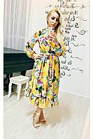 Платье коктейльное Валенсия жёлтого цвета длины миди с длинным рукавом размер 48