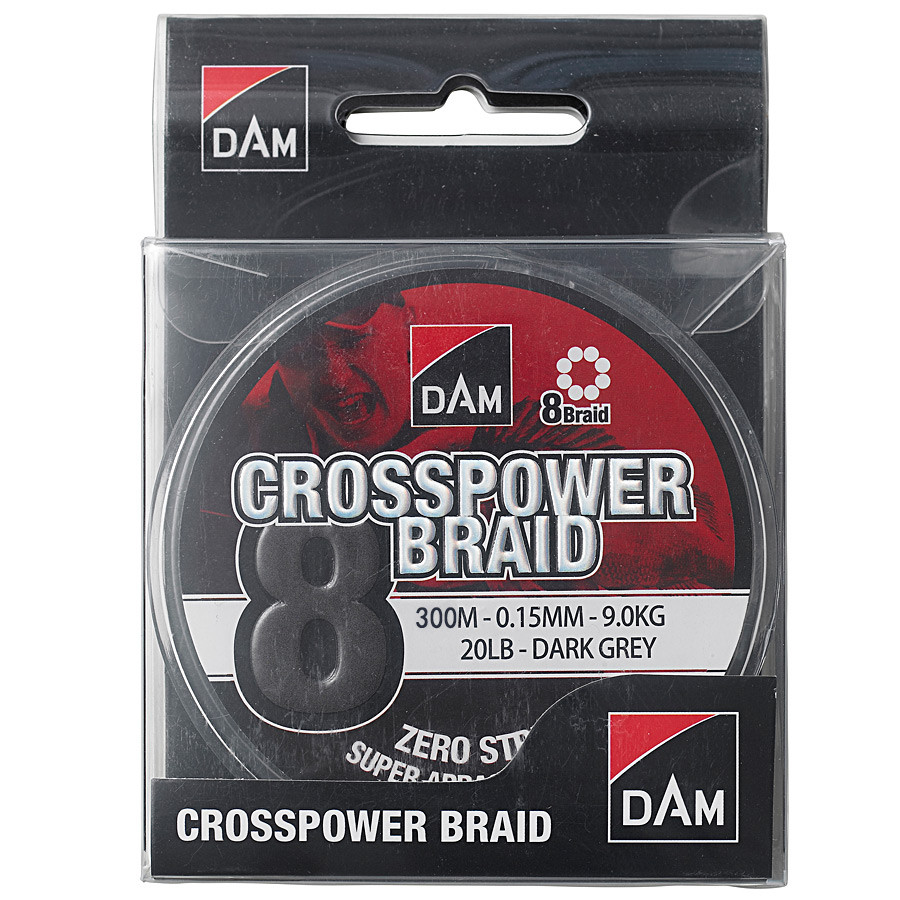 Шнур DAM Crosspower 8-Braid 300м 0,22мм 13,5кг/30Lb (dark grey)