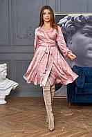 Платье шелковое с пышной юбкой 4цв. S-XL.