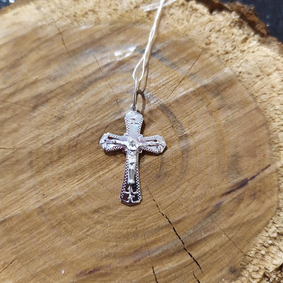 Крест серебряный 925 пробы покрытие родий