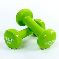 Гантели для фитнеса с виниловым покрытием Zelart Beauty, 2шт-4кг., салатовый (TA-5225-4)