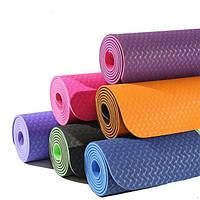 Коврик для йоги и фитнеса (йога мат) двухслойный OSPORT TPE 177х61см толщина 4мм (MS 0613-4)