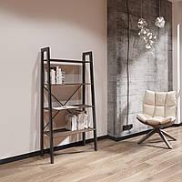 Стеллаж в стиле лофт на 4 полки в гостинную, кабинет, офис,консоль для книг и вещей серии Призма Металл-Дизайн