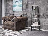 Угловой стеллаж в стиле лофт на 4 полки в гостинную, кабинет, офис, этажерка угловая Призма Металл-Дизайн