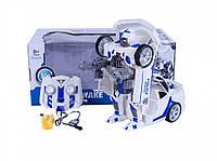Детский робот Трансформер на радио управлении полицейская машина (Белый)