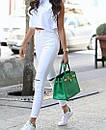 Белые женские джинсы скинни с высокой посадкой рваные на коленках, фото 3