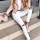 Белые женские джинсы скинни с высокой посадкой рваные на коленках, фото 4