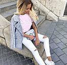 Белые женские джинсы скинни с высокой посадкой рваные на коленках, фото 5