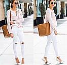 Белые женские джинсы скинни с высокой посадкой рваные на коленках, фото 8