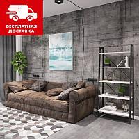 Стеллаж стильный металл 5 полок в гостинную, кабинет, офис,консоль для книг и вещей Призма Металл-Дизайн