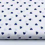 Лоскут ткани с синими редкими сердечками 10 мм на белом фоне (№1691а), размер 19*160 см, фото 2