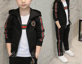 Спортивный костюм тройка  на мальчика весна-осень черный 4-6 лет