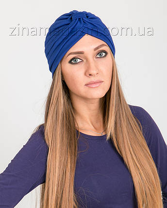 Шапка тюрбан синий, фото 2